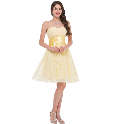 Grace Karin Women's Light Yellow Chiffon Strapless Sweetheart Lace-Up Ruched Bodice Mid-thigh Bridesmaid Dress