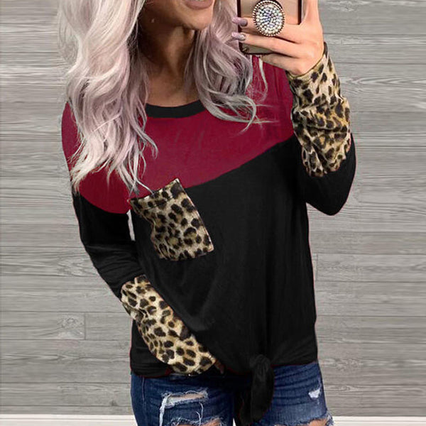Round Neck Leopard Stitching Long Sleeve Top