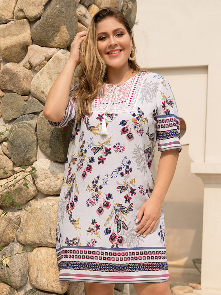 Women Summer Half Sleeve Floral White Splice V-Neck Loose Fashion New Dress