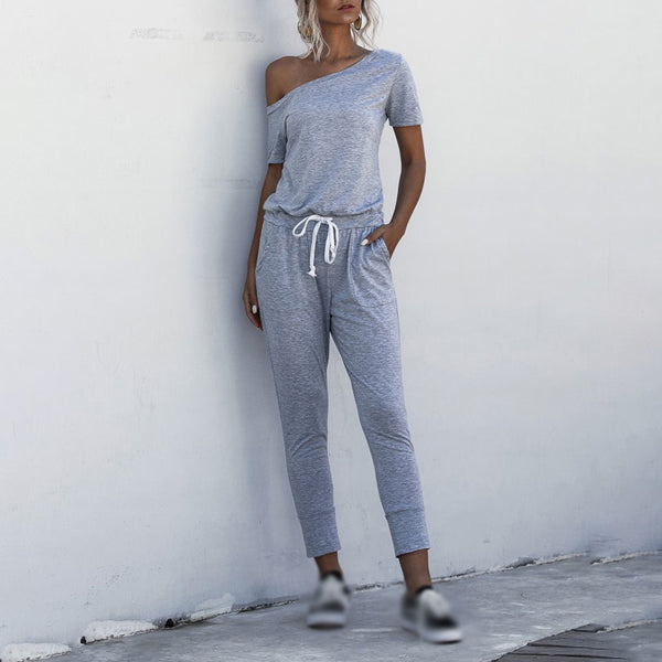 Women's Off-shoulder Short Sleeve Pockets Cropped pants Midwaist Rompers - PRESALE
