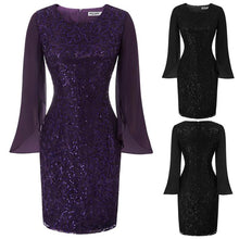 Load image into Gallery viewer, GK Women's Shining Long Chiffon Sleeve Hips-Wrapped Bodycon Pencil Lace Dress