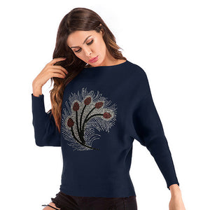 Women's Casual Slim Round Neck Tops Knitwear Pullover Long Sleeve Printed