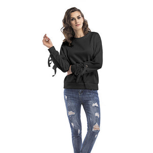 Women's Casual Round Neck Long Sleeve Tops Warm Pullover Sweatshirt Solid Color
