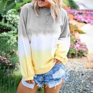 Gradient Color Long Sleeve Blouse without Necklace