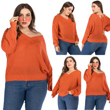 Load image into Gallery viewer, Women's Large Size Pullover Sweater Solid Color Long Sleeve Loose Bottoming Tops