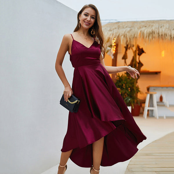 Women Summer Tunic Dress for 2019 - Sexy with Sling, Solid Color Sleeveless