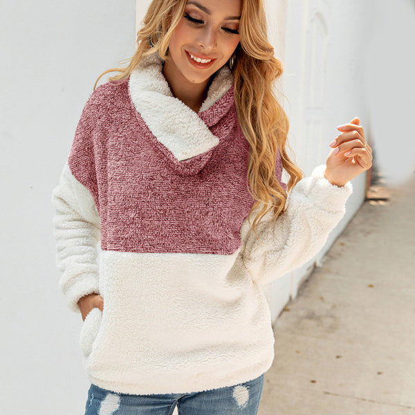Women Autumn Winter Warm Long Sleeve Zipper Pockets Pullover Fluffy Coat