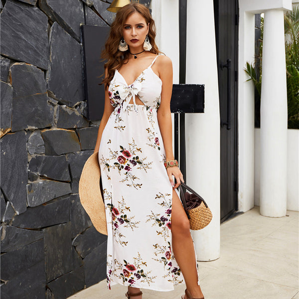 Women Ankle-Length Dress Summer V-Neck Sling Floral Bow-Knot Split Fashion - PRESALE