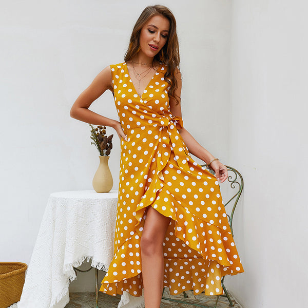 Women Summer Hem Dress with Polka Dot, V-neck Sleeveless and Tie Curved