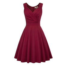 Load image into Gallery viewer, Wine Red and Black Pleated Bodice Flared A-Line Party Dress