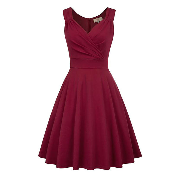 Wine Red and Black Pleated Bodice Flared A-Line Party Dress