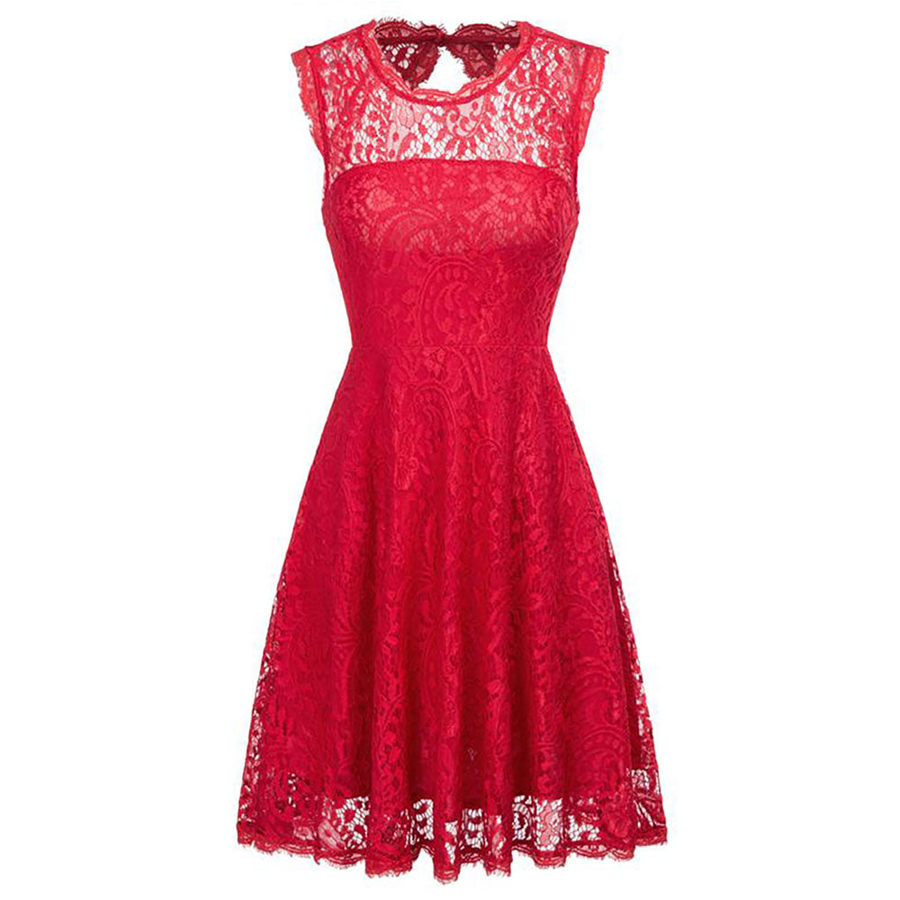 Red and Ivory Hollowed Back A-Line Flora Lace Cocktail Party Dress - PRESALE