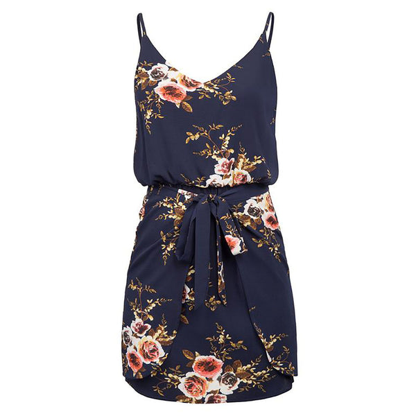 Navy Blue & Tan Floral Pattern Spaghetti Straps Mini Dress