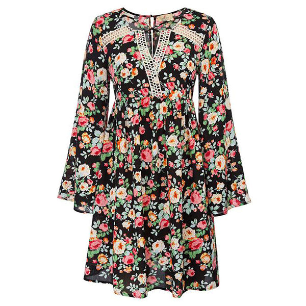 GK Women's Comfy Floral Pattern Long Sleeve Keyhole Back Cotton A-Line Dress