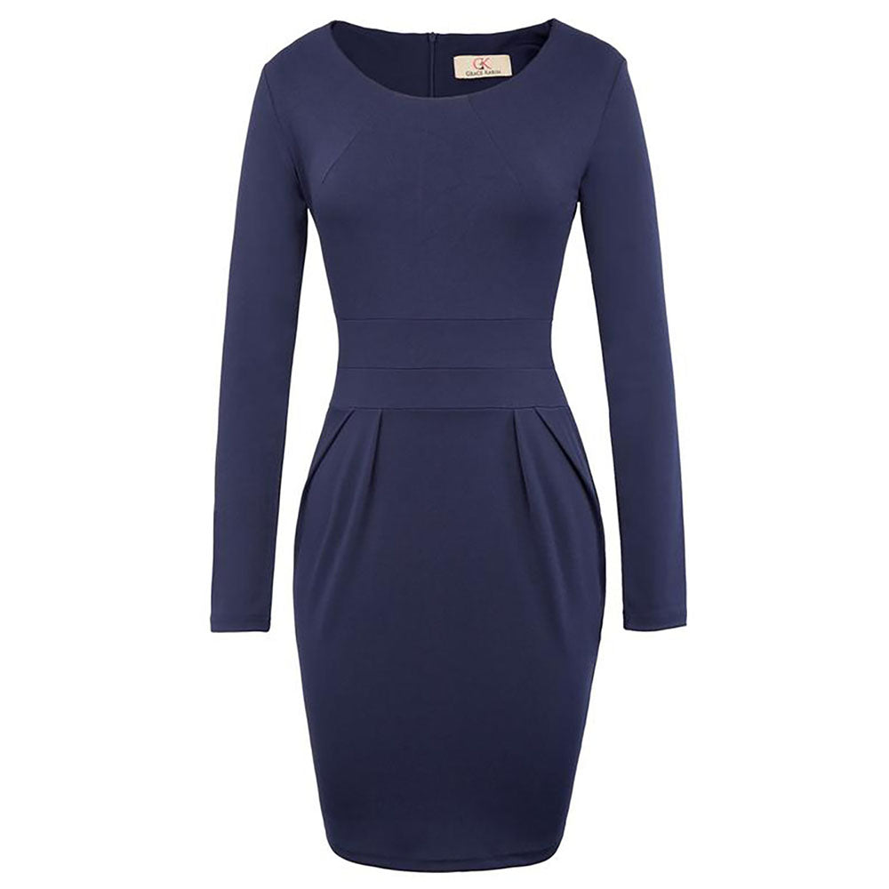 Long Sleeve Crew Neck Hips-Wrapped Body-con Pencil Dress