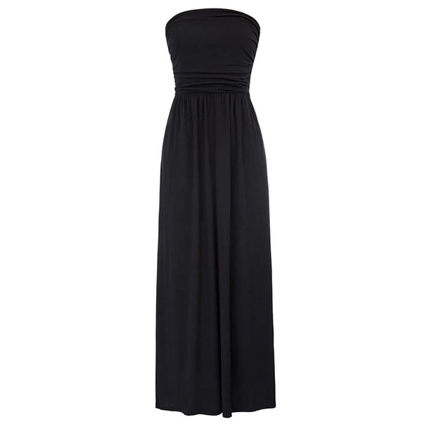 Black and Khaki Summer Strapless Pleated Waist Maxi Dress With Pockets
