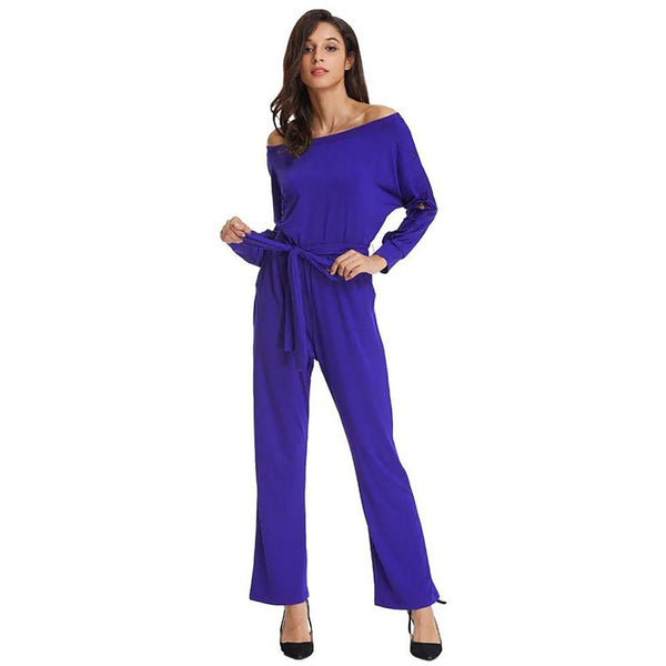 Women's Long Sleeve Asymmetrical Off the Shoulder Romper Jumper