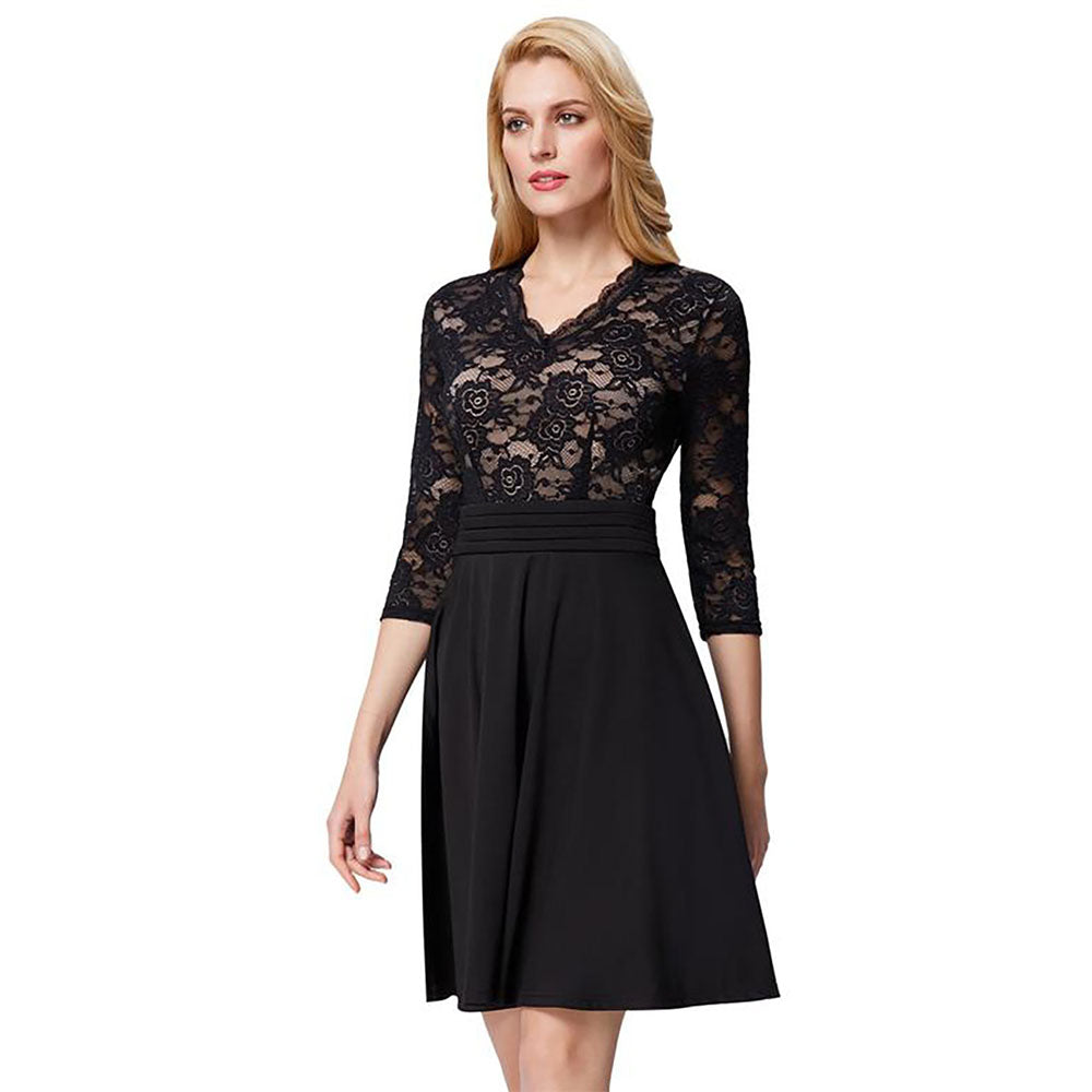 Navy Blue and Black 3/4 Sleeve Pleated Floral Lace Dress