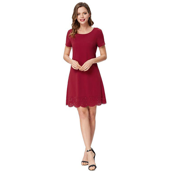 Solid Color Short Sleeve Hollowed A-Line Dress For Women