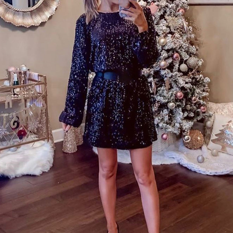 Long Sleeved Sequined Hollow Out Dress