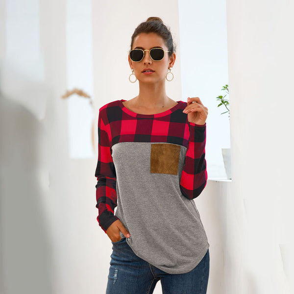 Women Tops Pullover Long Sleeve Round Neck Plaid Splice Pocket Fashion