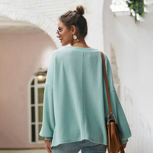 Women's Tops Pullover Long Sleeve - V-Neck, Solid Color, Loose Casual