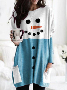 Woman's Snowman Print Pocket Contrast T-shirt