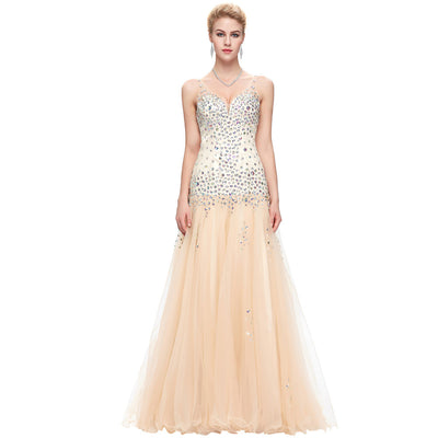 Grace Karin Women's Beaded Sleeveless V-Neck V-Back Apricot Tulle Netting Ball Gown Evening Prom Party Dress