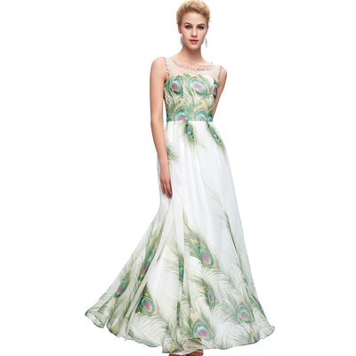 Grace Karin Women's Sleeveless Crew Neck Peacock Print Chiffon Full-Length Ball Gown Evening Prom Party Dress with beading embellished