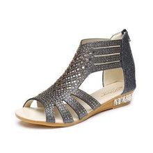 Load image into Gallery viewer, Women's Wedge Vibola Crystal Hollow Out Anti-Slip Roman Sandals