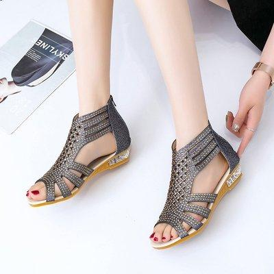 Women's Wedge Vibola Crystal Hollow Out Anti-Slip Roman Sandals