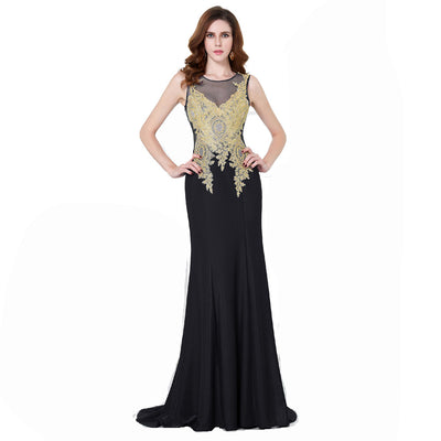 Grace Karin Fashion Women's Black Sleeveless Round Neck See-through Golden Appliques Floor-Length Ball Gown Evening Prom Party Dress