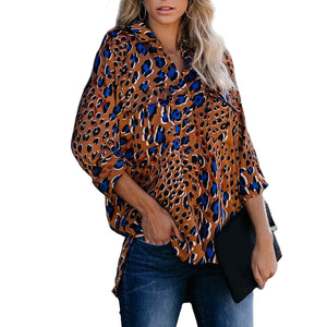 Women's Loose Long Sleeve Leopard Print Lapel Cardigan Shirt