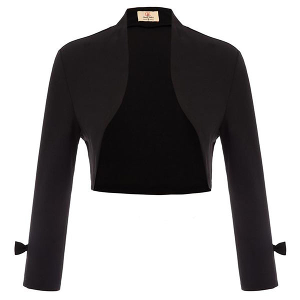 Women 9/10 Sleeve Open Front Irregular Hem Shrug Bolero Cropped Length Coat