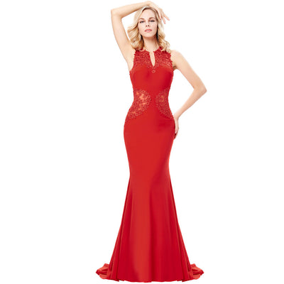 Grace Karin Red Sleeveless V-Neck Hollowed Back High Stretchy Women's Floor-Length Ball Gown Evening Prom Party Dress
