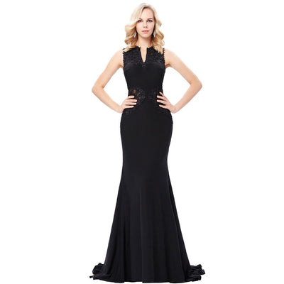 Grace Karin Black Sleeveless V-Neck Hollowed Back High Stretchy Women's Floor-Length Ball Gown Evening Prom Party Dress