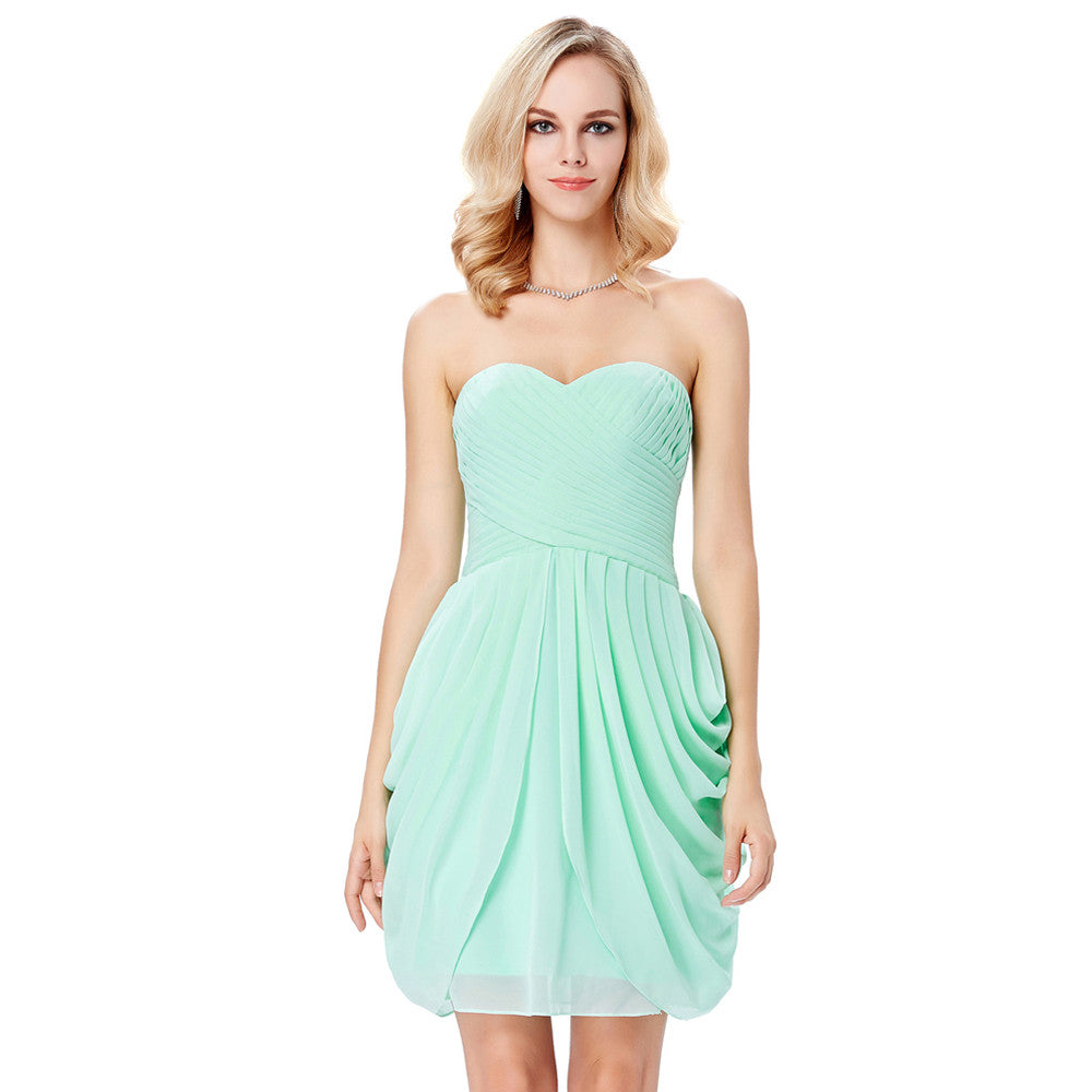 Grace Karin Mulheres Strapless Querida Ruched Corpete Chiffon Mid-coxa Cocktail Ball Crescido Evening Prom Dress_Aquamarine