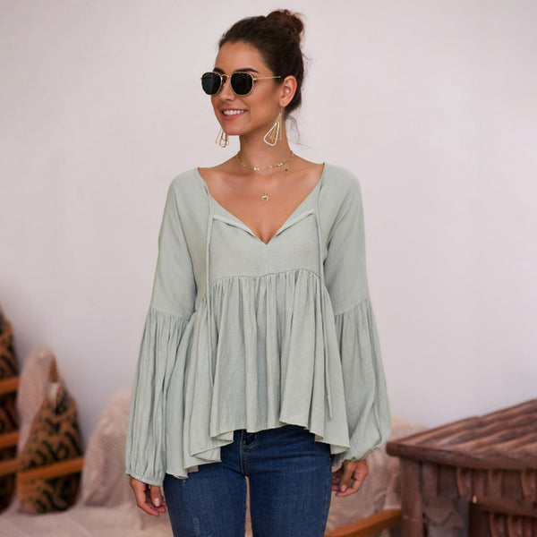 Women Tops V-Neck Long Puffed Sleeve Lace-Up Ruffled Solid Color Fashion