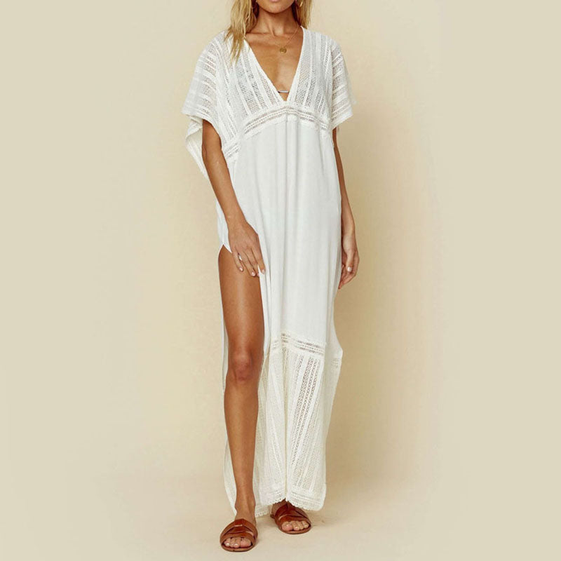 Mesh Embroidered Deep V-Neck Loose Beach Cover up