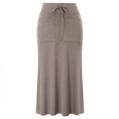 GK Women's Casual Drawstring Elastic Waist Side Split Straight Long Maxi Skirt