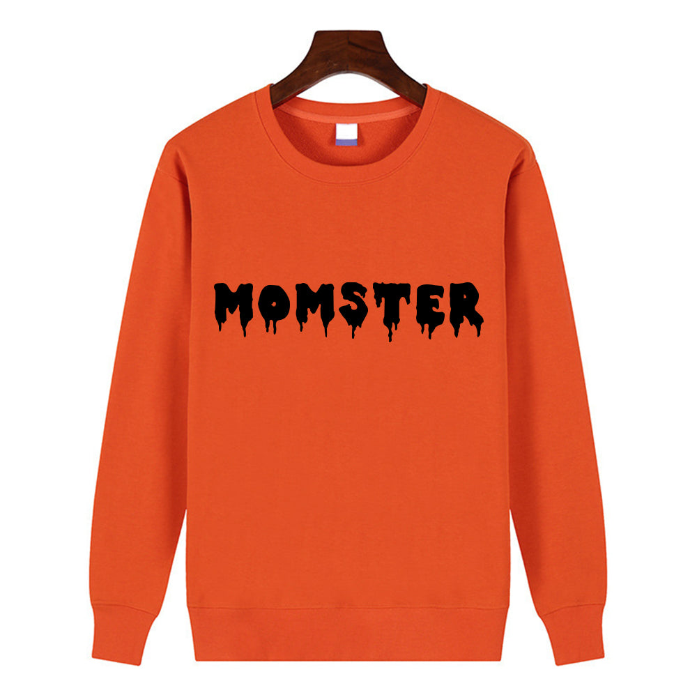 Happy Halloween  Pullover Monster Printing  O-Neck  Orange Tops