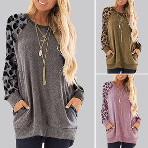 Women's Leopard Print Round Neck Pocket Sweater  Long Sleeve Loose Pullover Tops
