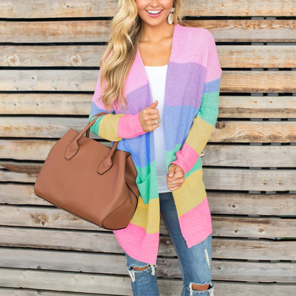 Women's Cardigan Sweater - Long Sleeve, Multi-Colors, Stripe