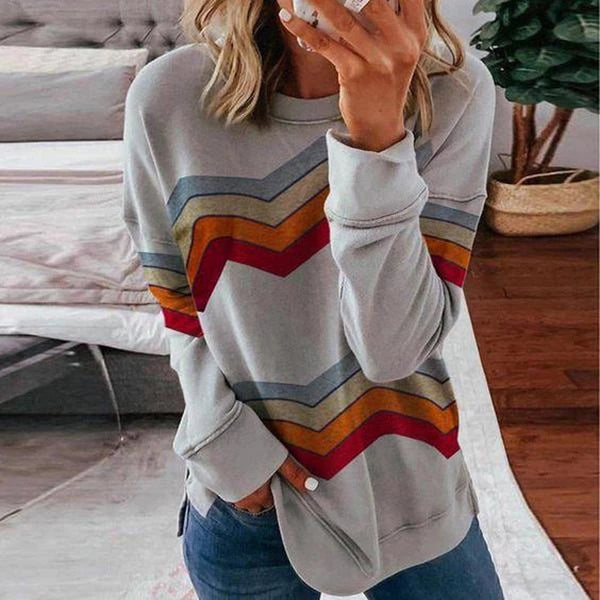 Round Neck Long Sleeve Striped Top