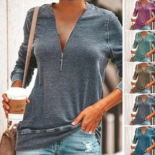 Load image into Gallery viewer, Women's Loose Long Sleeve Deep V-neck Zipper T-shirt Casual Pullover Tops