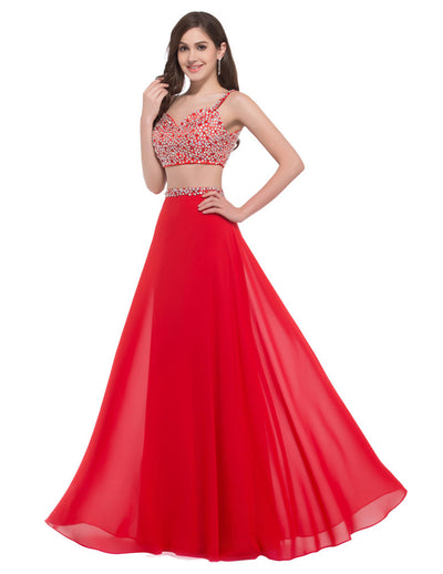Grace Karin Spaghetti Straps 2 Pieces Bridesmaid Prom Party Mermaid Wedding Evening Dress_Red
