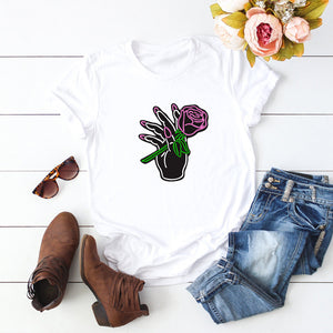 Rose Print Round Neck Short Sleeve T-shirt