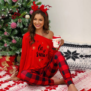 Women Christmas Plaid Print Tops Pants Trousers Suits Long Sleeve Cute Loose