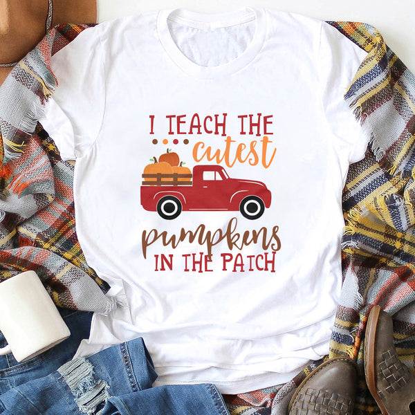 Happy Halloween I Teach The Cutest Pumpkins In The Patch O-Neck Short Sleeve T-Shirt