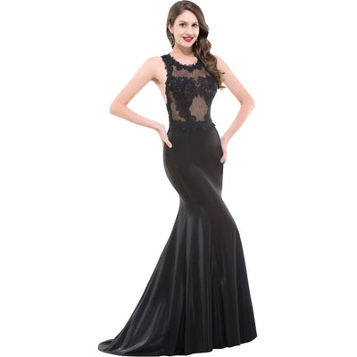 Grace Karin Women's Elegant Black Sequined Sleeveless See-Through Top Hollowed Back Floor-Length Formal Evening Gown Prom Party Dress